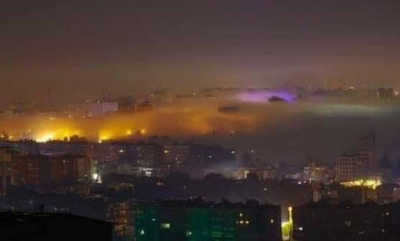 صورة دمشق تتلألأ بظاهرة الضباب الاشعاعي